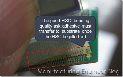 The adhesive of HSC shall be transferred to and keep on the substrate once it is peeled off by force for the good bonding on HSC.